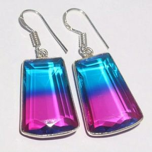 New Ametrine Silver Earrings. 1.5""